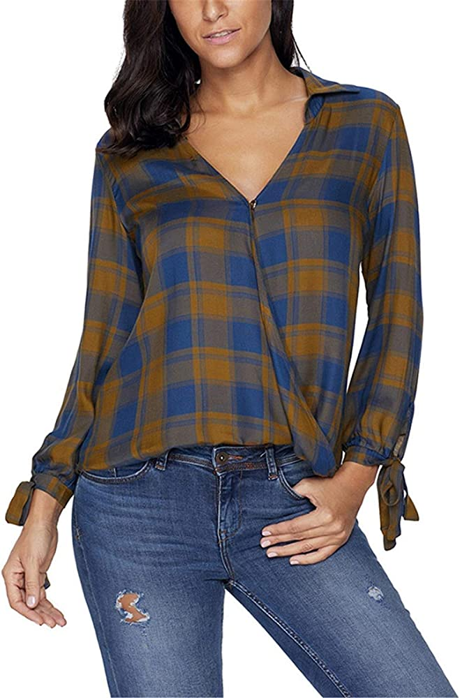 Camisa Suelta De Manga Larga A Cuadros con Cuello En Ropa V Manga Larga para Mujer Camisa Blusa con Capucha Tops Elegantes De Moda Vintage (Color : Gelb, Size : S): Amazon.es: