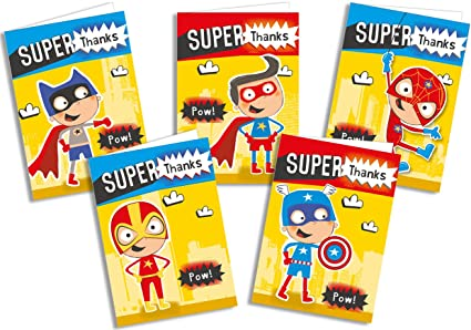 Thank you Office Paper Products Premium Childrens Thank You Cards Thank You Notes Avengers Superhero Mixed Pack x 28 Cards Boys Girls Party
