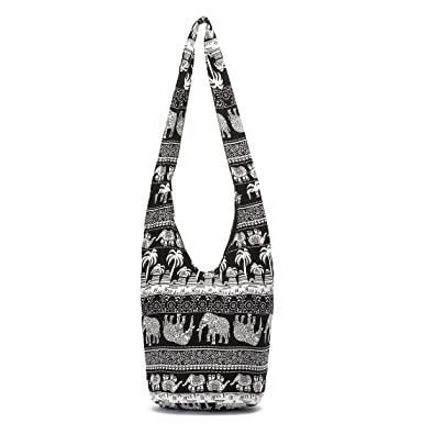 Vintage Boho Bag Thai Hobo Crossbody Bag Shoulder Bag Messenger Bag  Elephant Hippie Boho Bohemian Purse for Travel Shopping (Black)  Amazon.co.uk   Clothing 4e2598911b87a