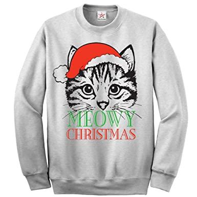 e4d8d884f2 Christmas Cute CAT Meowy Christmas Full Sleeve Sweatshirt Jumper Funny  Printed Sweatshirts, Jumpers, Sweaters: Amazon.co.uk: Clothing