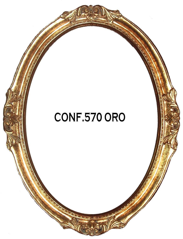 Marco para cuadros Espejo Espejo Ovalado Hoja Dorado: Amazon.es: Hogar