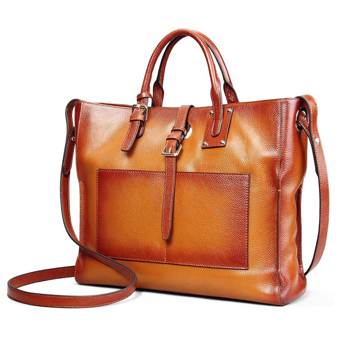 Womens Genuine Leather Handbags for Work Tote Bag Fit 14'' Laptop DAIZU Cowhide Large Purse
