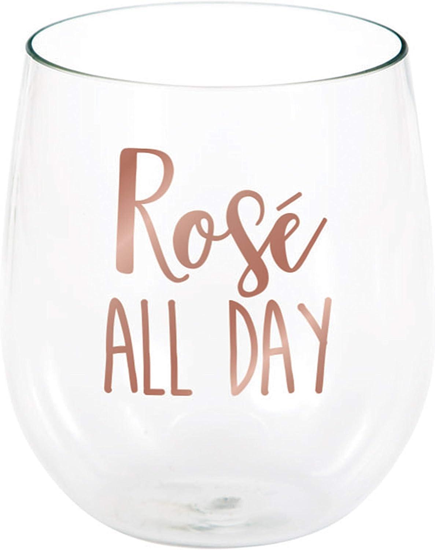 Bride Polka Dot Gold Foil 16 Ounce Stemless Wine Glass