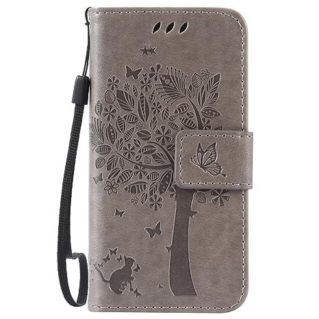 Nancen Compatible with Handyhülle Galaxy S4 Mini I9190 i9195 Flip Schutzhülle Zubehör Lederhülle mit Silikon Back Cover PU Le