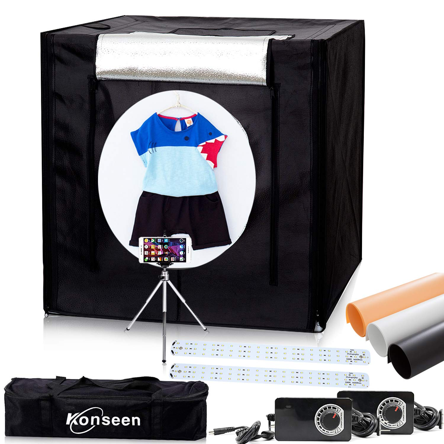 192pcs LED Dimmable Lightbox for Studio Product Photography 32''x32''x32'' Cube Shooting Tents Photo Lighting Softbox Background Kit with Mini Tripod and 3 Colors PVC Backdrops in Carry Bag by Konseen