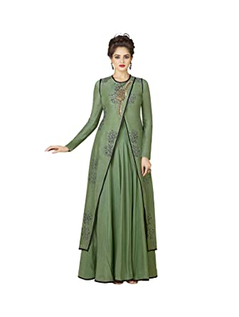 CRAZYBACHAT Latest Indian Womens Cotton Gown Long Wear Green Dress Printed Gown L