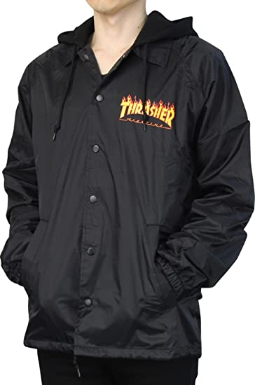 5ce879bf5ade THRASHER (スラッシャー) Flame Logo Coach Jacket With Fleece Hoodie コーチジャケット