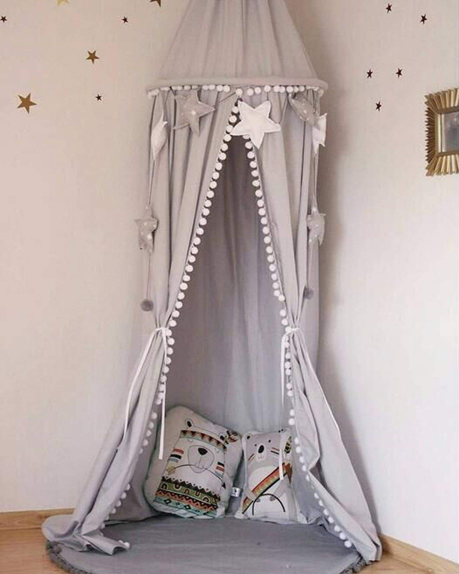 Cotton Baby Room Decoration Balls Mosquito Net Kids Bed Curtain Canopy Round Crib Netting Tent 245Cm,White,Length 245Cm Top Le by Try My Best Mosquito Net (Image #5)