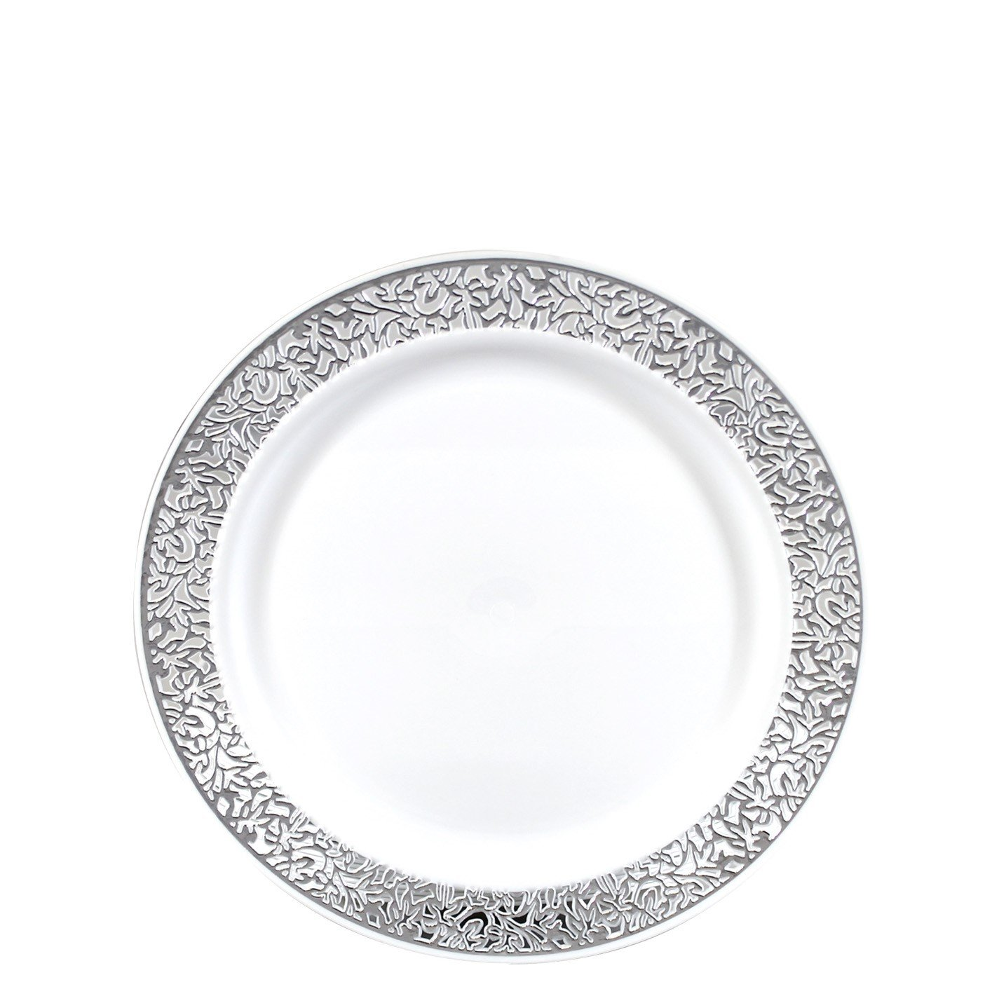 """Gourmet Home Products 24 Count Premium Reusable Heavyweight Plastic Salad Plates, 7.5"""", White/Silver, Metallic Lace Trim"""