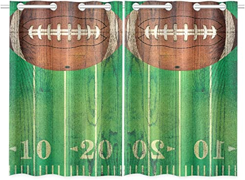 INTERESTPRINT Blackout Window Curtains American Football Room Bedroom Home Living Short Drapes Curtains 52X39 Inch