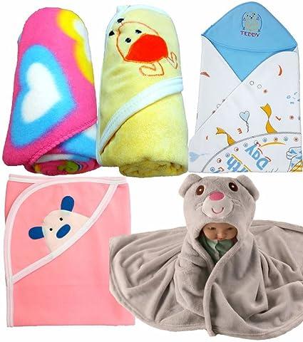 6068601bbb2f Brandonn Newborn Baby Blankets Cum Wrappers(Pack Of 5