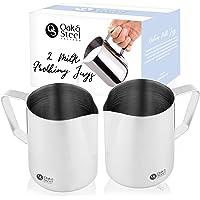 Oak and Steel 2 Pot à Lait en Acier Inoxydable Moussant, 350ml - Qualité Supérieure, Va Au Lave-Vaisselle - avec Échelle de Mesure Lait Pichet Moussant - Parfait pour Café, Latte, Cappuccinos.