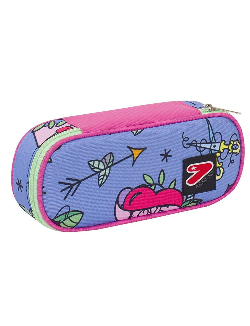 Pink Blue Swallow School Pencil Bag Round Plus Seven The Double