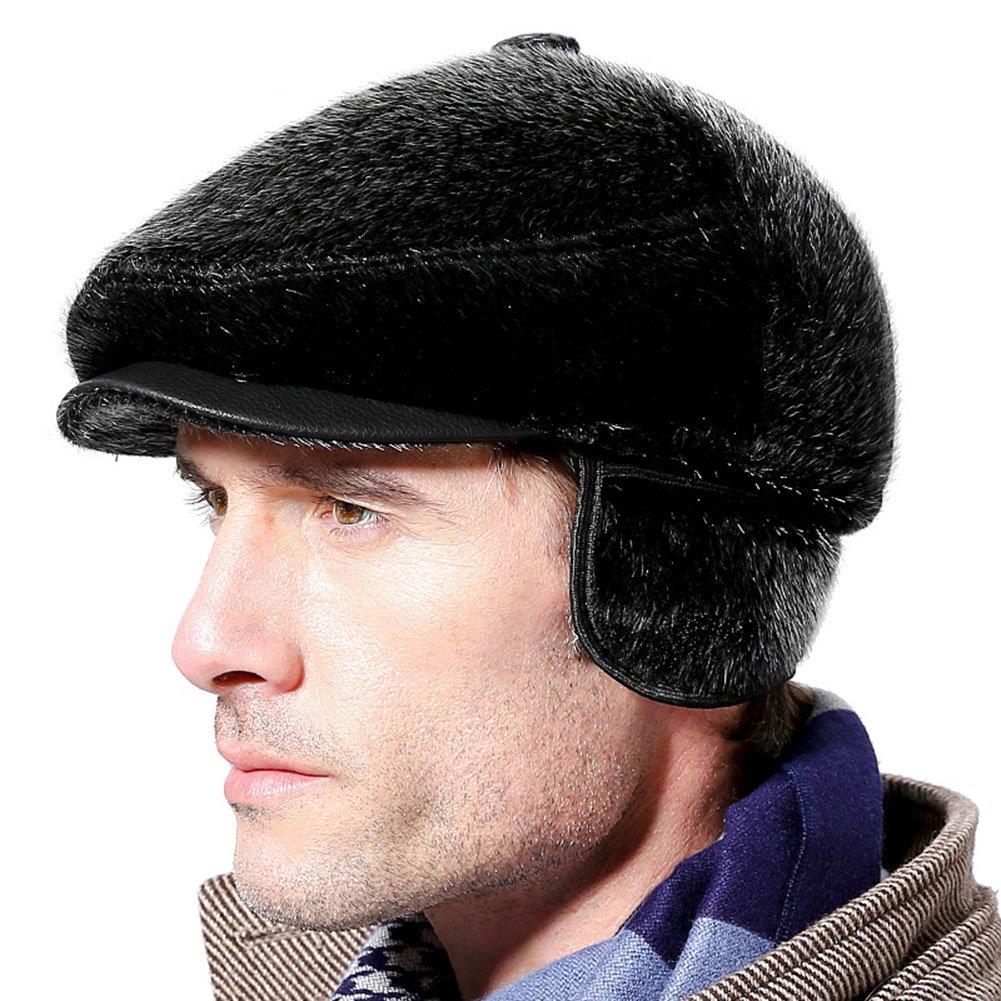 Roffatide Faux Mink Fur Ear Flap Newsboy Cap Flat Beret Cabbie Irish Ivy Hat Winter RT2023