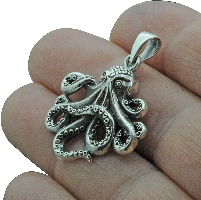 Beldiamo 7,5g massiv 925 Sterling Silber Oktopus Ozean Nautical Handarbeit