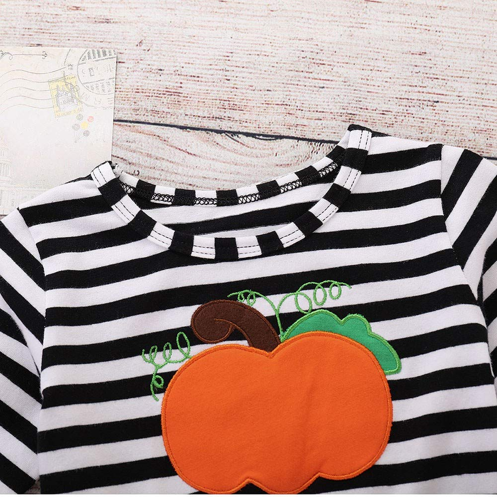 Weiyun Kids Baby Girls Dress+Headbands Set Halloween Pumpkin Striped Print Long Sleeve Full Skirt Children