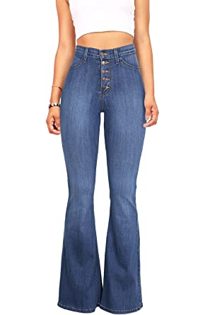 il più votato genuino materiali superiori vendita limitata Vibrant Women's Juniors High Rise Button Fly Flare Jeans ...