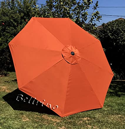BELLRINO Decor Replacement Orange Strong & Thick Umbrella Canopy for 9ft 8  Ribs Orange (Canopy Only)