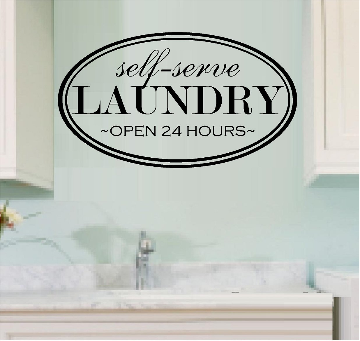 Amazon wall decal vinyl lettering self serve laundry open 24 amazon wall decal vinyl lettering self serve laundry open 24 hours laundry room home kitchen amipublicfo Gallery