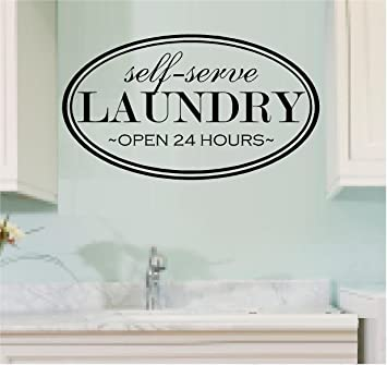 Gentil WALL DECAL VINYL LETTERING SELF SERVE LAUNDRY OPEN 24 HOURS LAUNDRY ROOM
