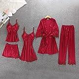 5pcs Pajama Set Women Casual Ladies Dressing Sleepwear Set With Chest Pad Pyjamas Lingerie Nightwear Set Homewear Suits…