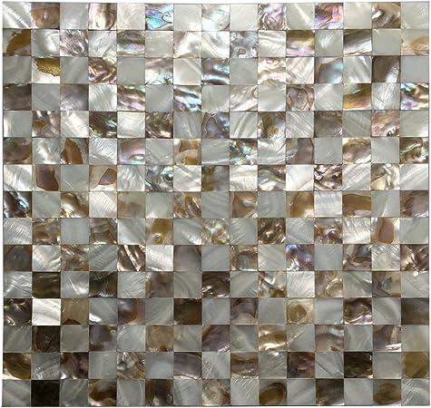 Tuile mosaïque de nacre de coquillages d\'huîtres Art3d pour ...
