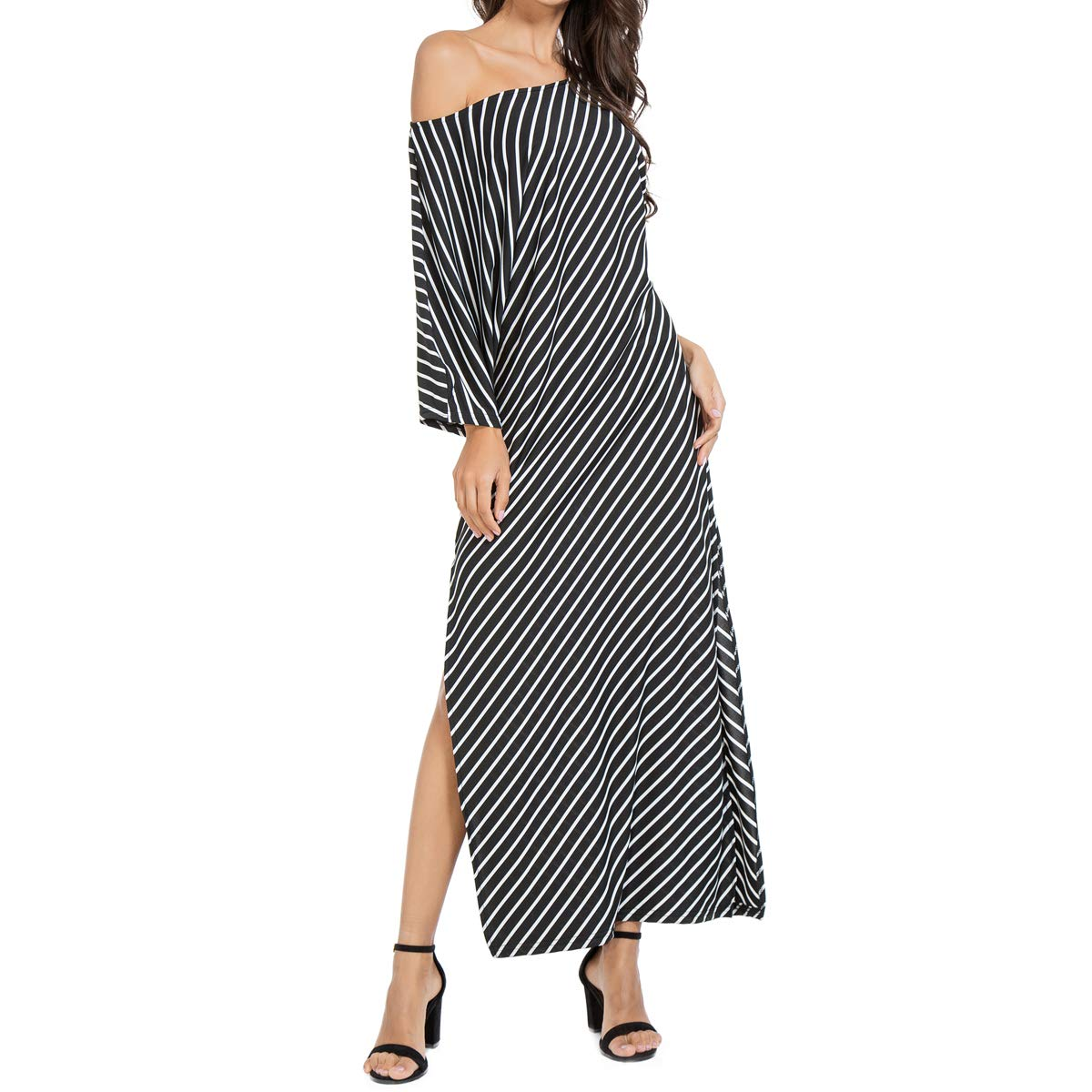 2b2f6e17d0f2 JTANIB Women's Striped Kaftan Maxi Dress, Irregular Slit Casual Half Sleeve  Loose Beach Dresses