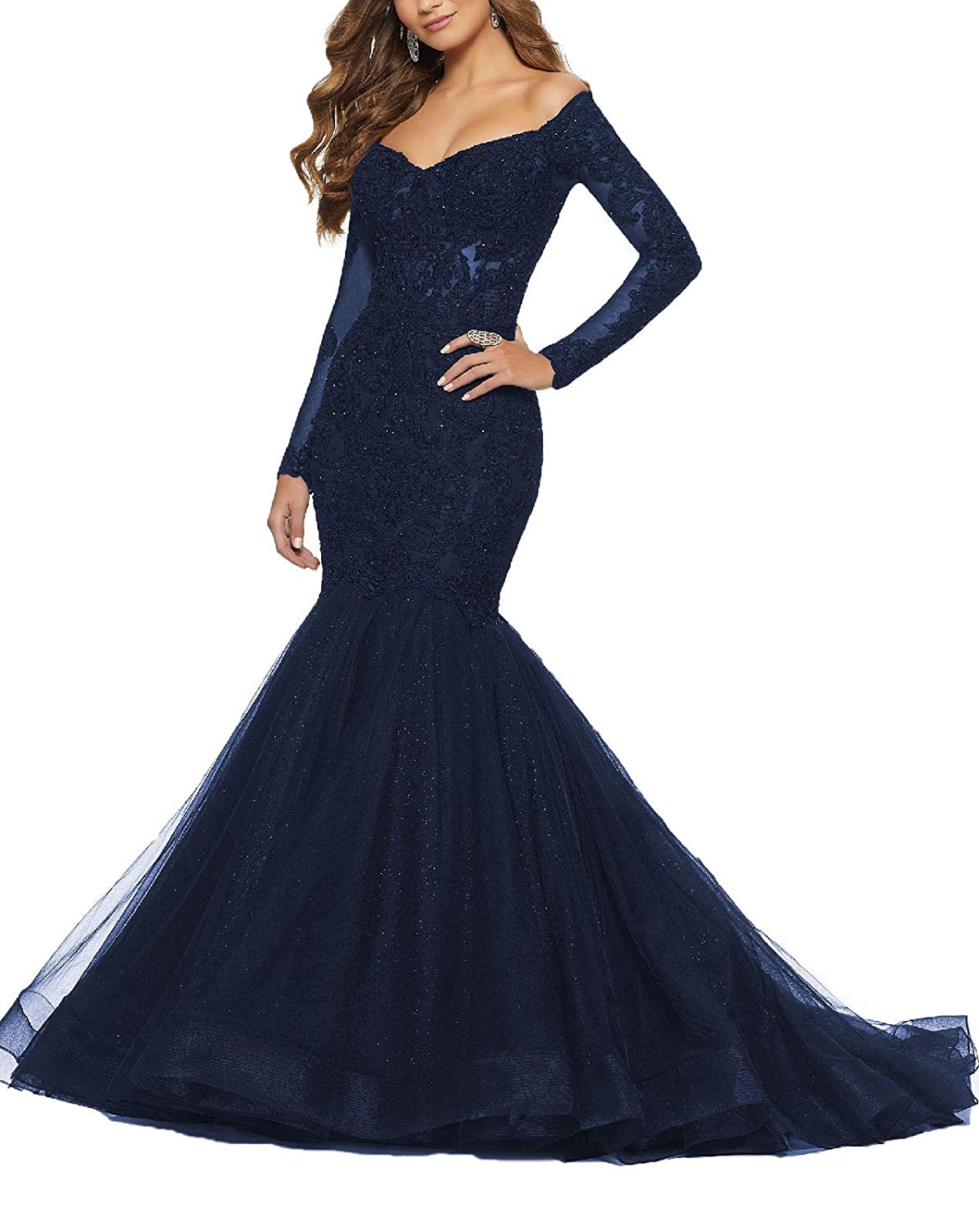 Nave bluee Yisha Bello Women's Off The Shoulder Long Sleeve Mermaid Pro Dress Lace Applique Beaded Evening Dress Formal Ball Gowns