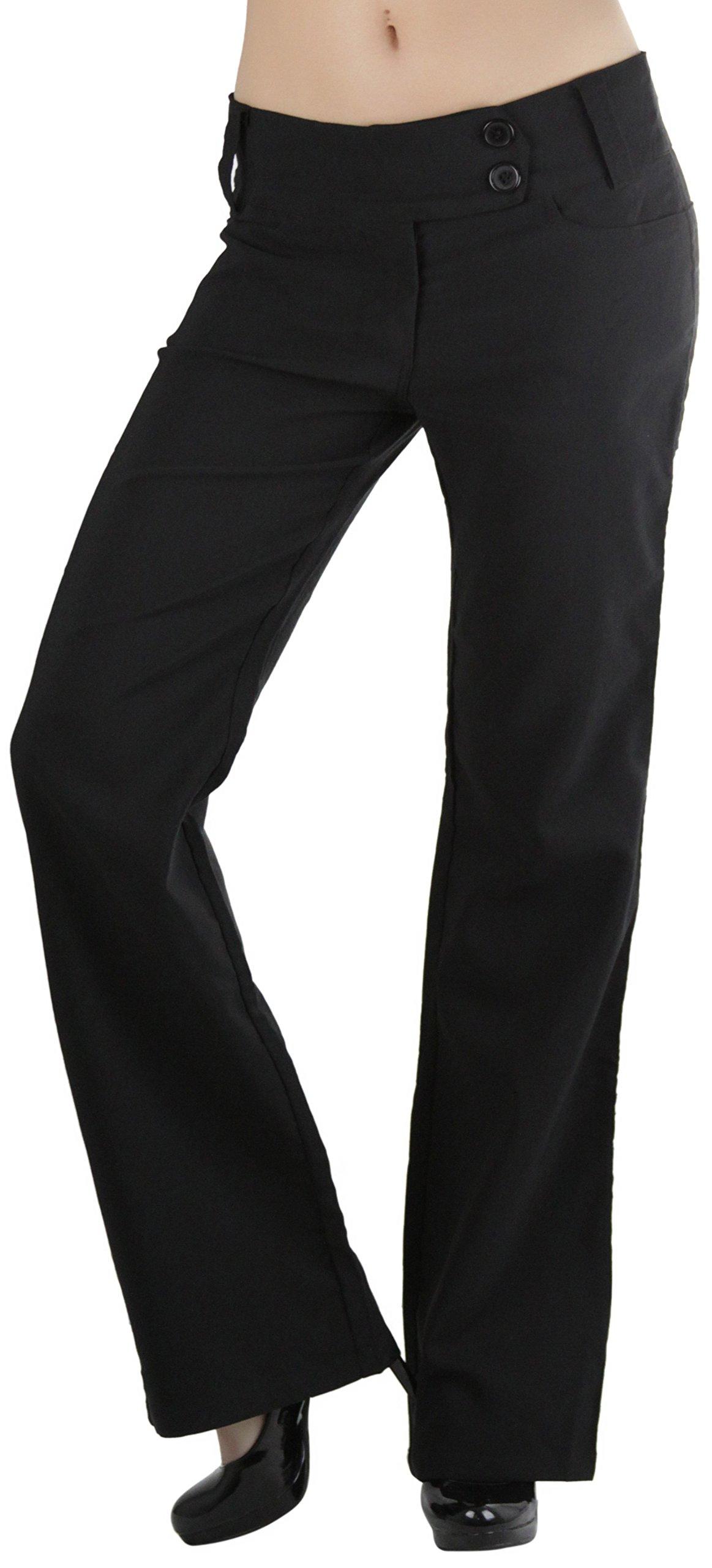ToBeInStyle Women's High Waist Boot-Cut Dress Pants - Black - Small
