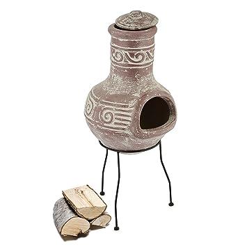 Blumfeldt Tikal Chimenea azteca exterior (Horno de barro, base de metal 75x30 cm (