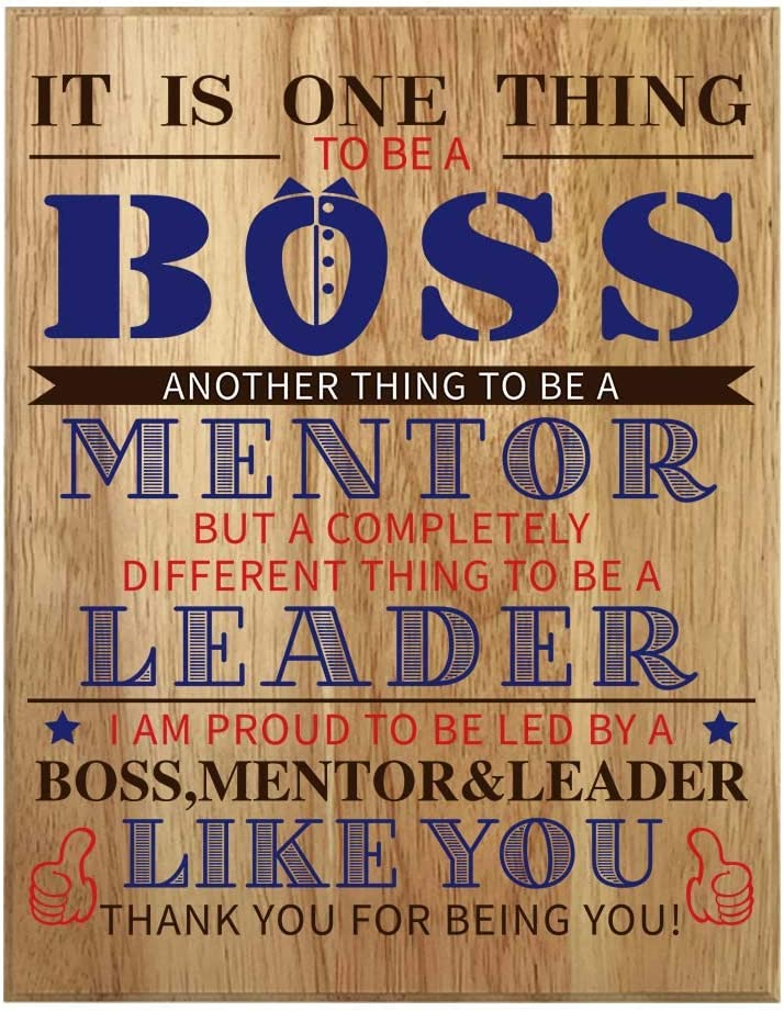 QUMO Boss Gifts for Men | Plaque | Desk | Office | Leader | Funny | Wall Art | Christmas | Boss's Day | Wooden