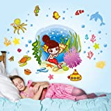 Decals Design 5706 StickersKart Wall Stickers Girls Room Underwater Mermaid and Creatures (Multicolor)