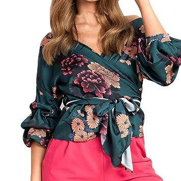 83b92e43c9e481 Women Blouse Daoroka Ladies Sexy Deep V Off Shoulder Long Flared Ruffle  Sleeve Strap Solid Shirts