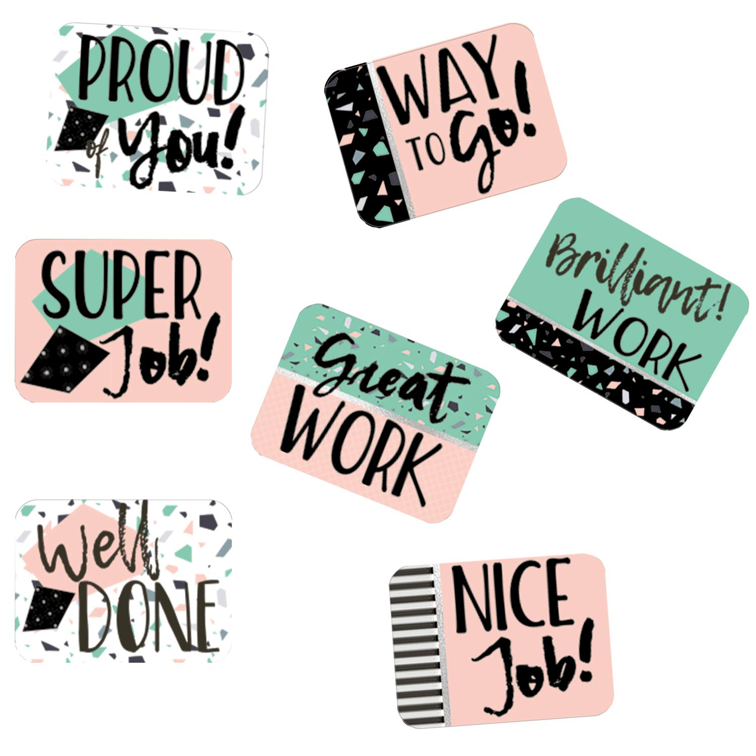 1.4 x 1 Eureka Pink and Green Confetti Motivational Stickers for Kids and School Teachers 120pcs