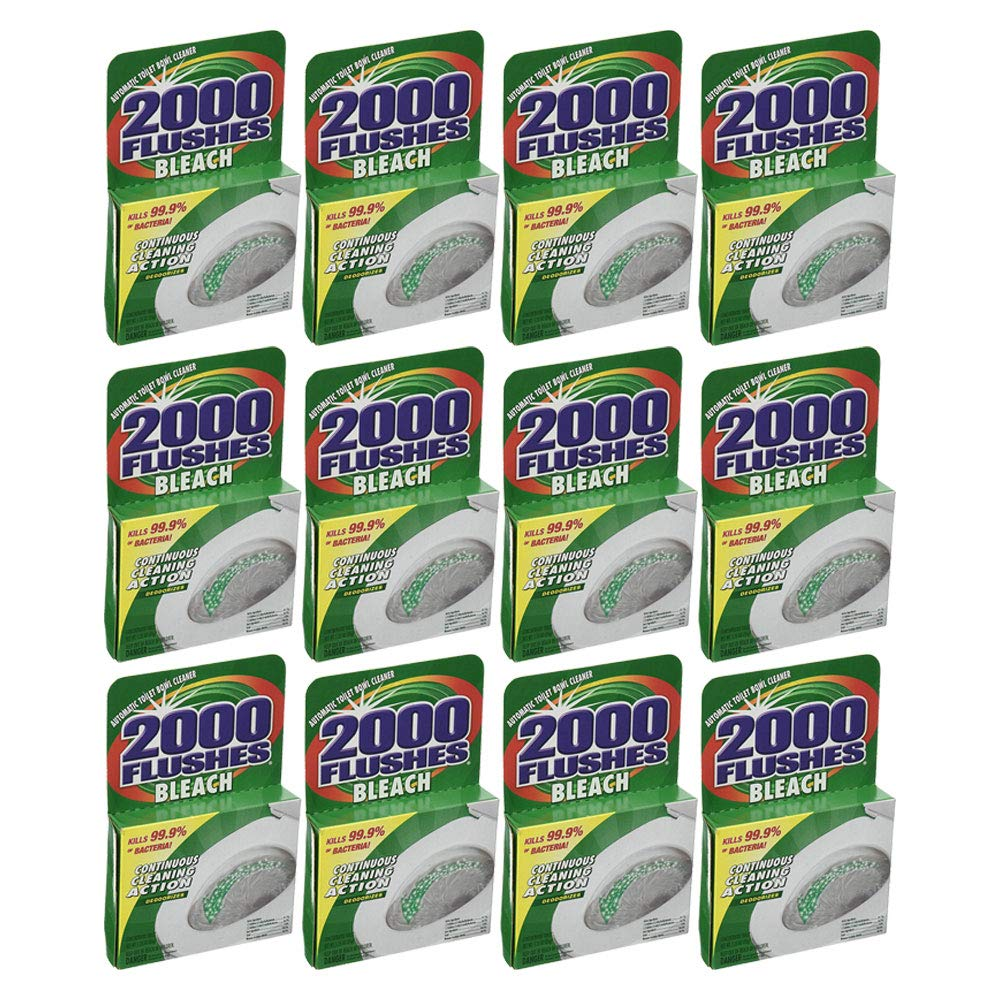 2000 FLUSHES Continuous Cleaning Action Toilet Bowl Cleaner w/Bleach (12 Pack) by 2000 FLUSHES
