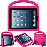 LEDNICEKER Apple iPad 2 3 4 Kids Case - Light Weight Shock Proof Handle Friendly Convertible Stand Kids Case for iPad 2, iPad 3rd Generation, iPad 4th Generation Tablet - Magenta/Rose