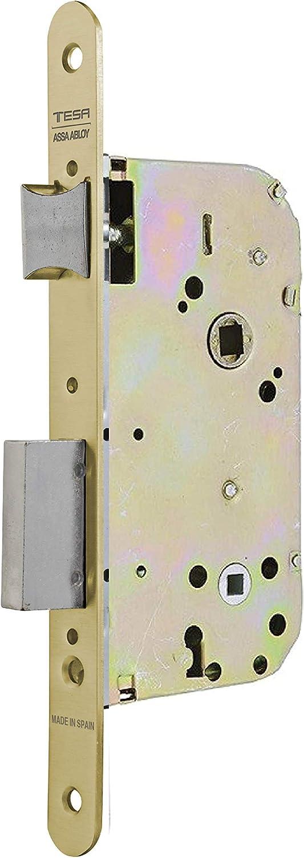 Tesa Assa Abloy, 13458RHL Cerradura de embutir para puertas de madera, frente redondeado, Entrada 50mm, Latonado