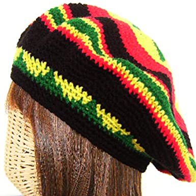 e3d344c96e4 Rasta Reggae Tam Hat Beanie Cap Jamaiga Hippy Beret Green Rowel on Yellow  Crochet Handmade Strechable Will Fit 20