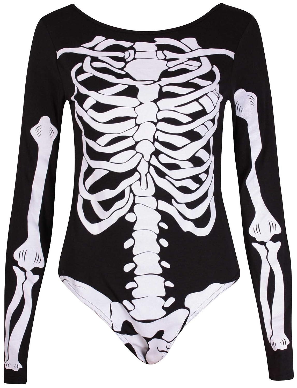 PurpleHanger Women's Haloween Skeleton Printed Leotard Bodysuit Top Purple Hanger Curvy