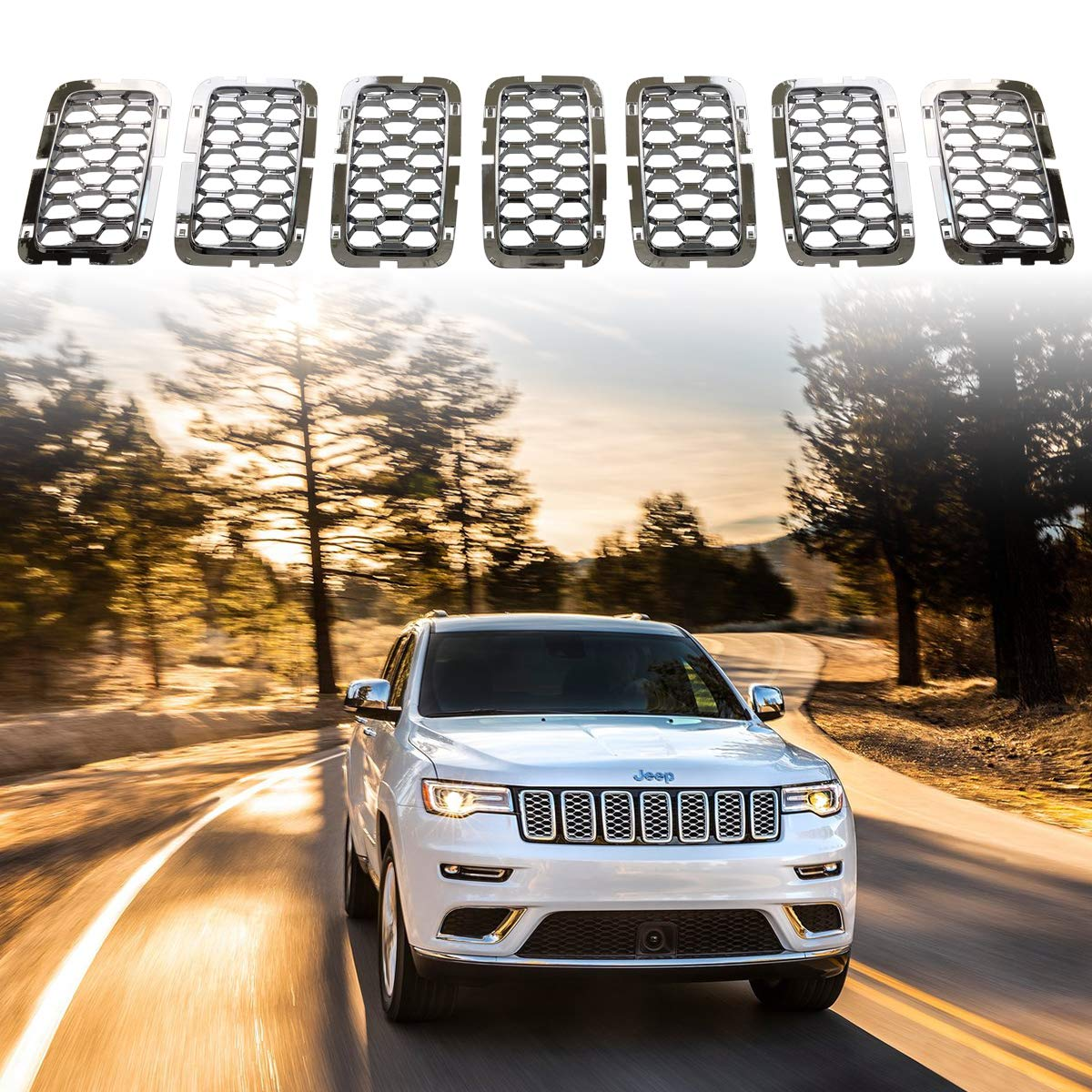 Astra Depot Compatible with 2017 2018 2019 Jeep Grand Cherokee Grille Grill Cover Inserts Kit 7pcs Glossy Black