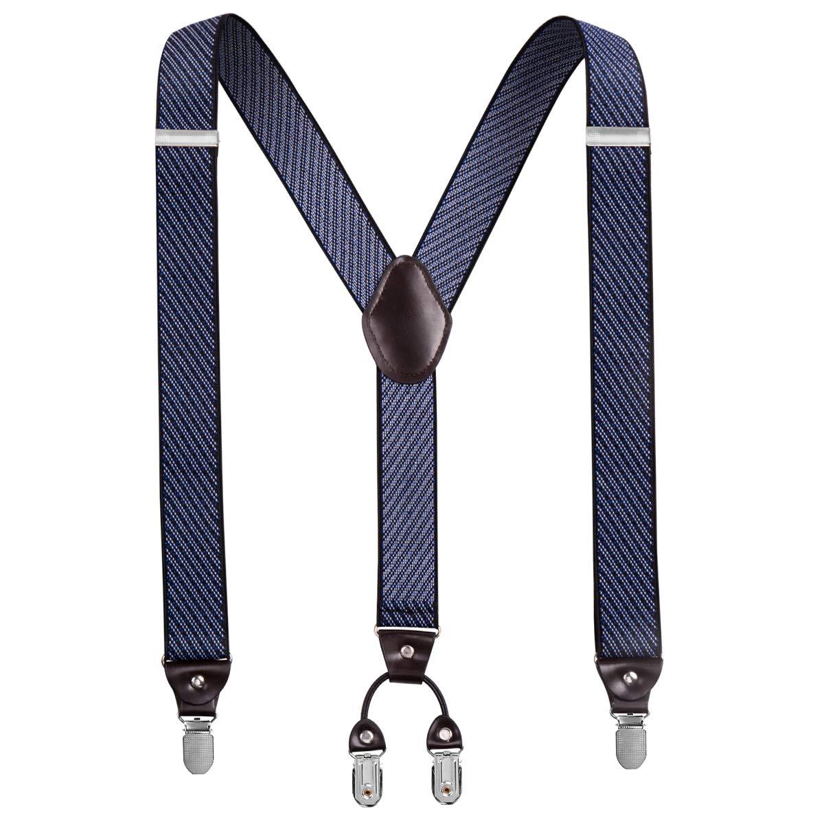 Mens Y-Back Clip Adjustable Elastic Suspenders-Great for both Casual & Formal, Vintage Diagonal Stripe, One Size