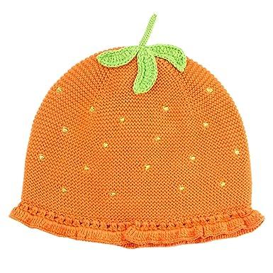 f59fb79b79f Tyidalin BéBé Fille Chapeau Mignon Bonnet Enfant Hiver Tricot en Coton  Chaud pour Automne Hiver Orange