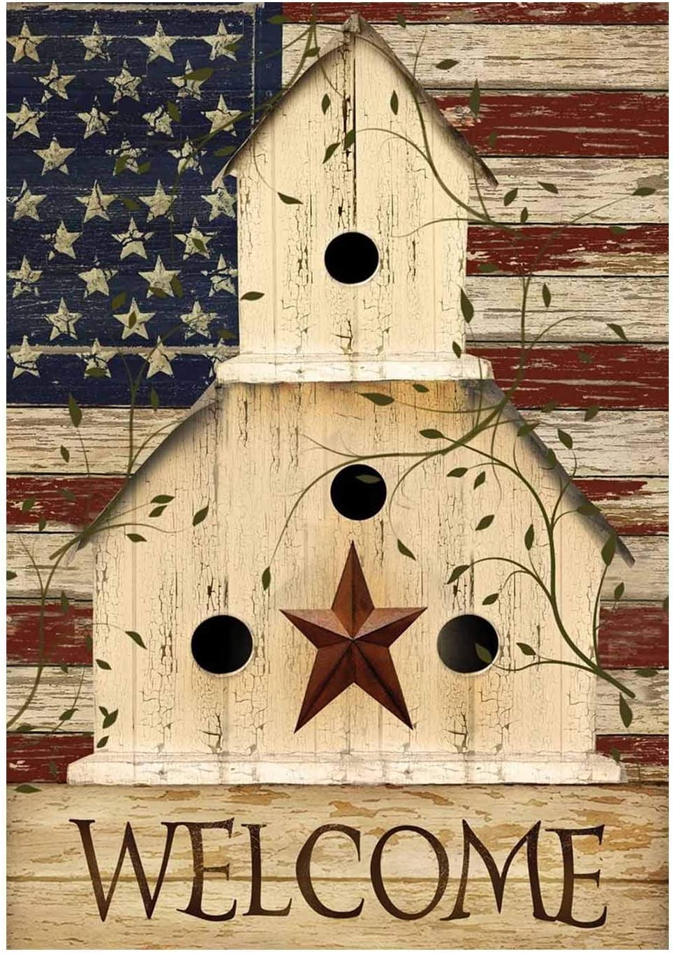 HILUCK Primitive Patriotic House Garden Flag, Vertical Double Sided Boutique Burlap Decorative Banners Decor for Patio Lawn and Backyard, 12 x 18 Inch