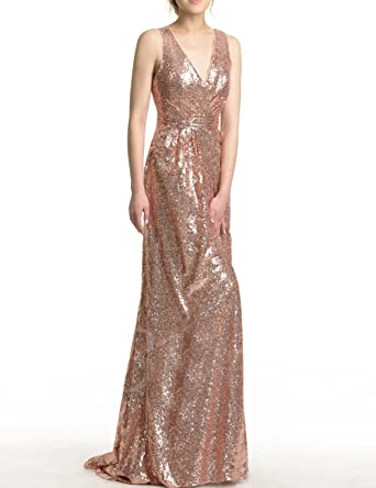 Vimans Womens Sequins V Neck Prom Dresses Formal Bridesmaid Gown Size 2 Rose Gold