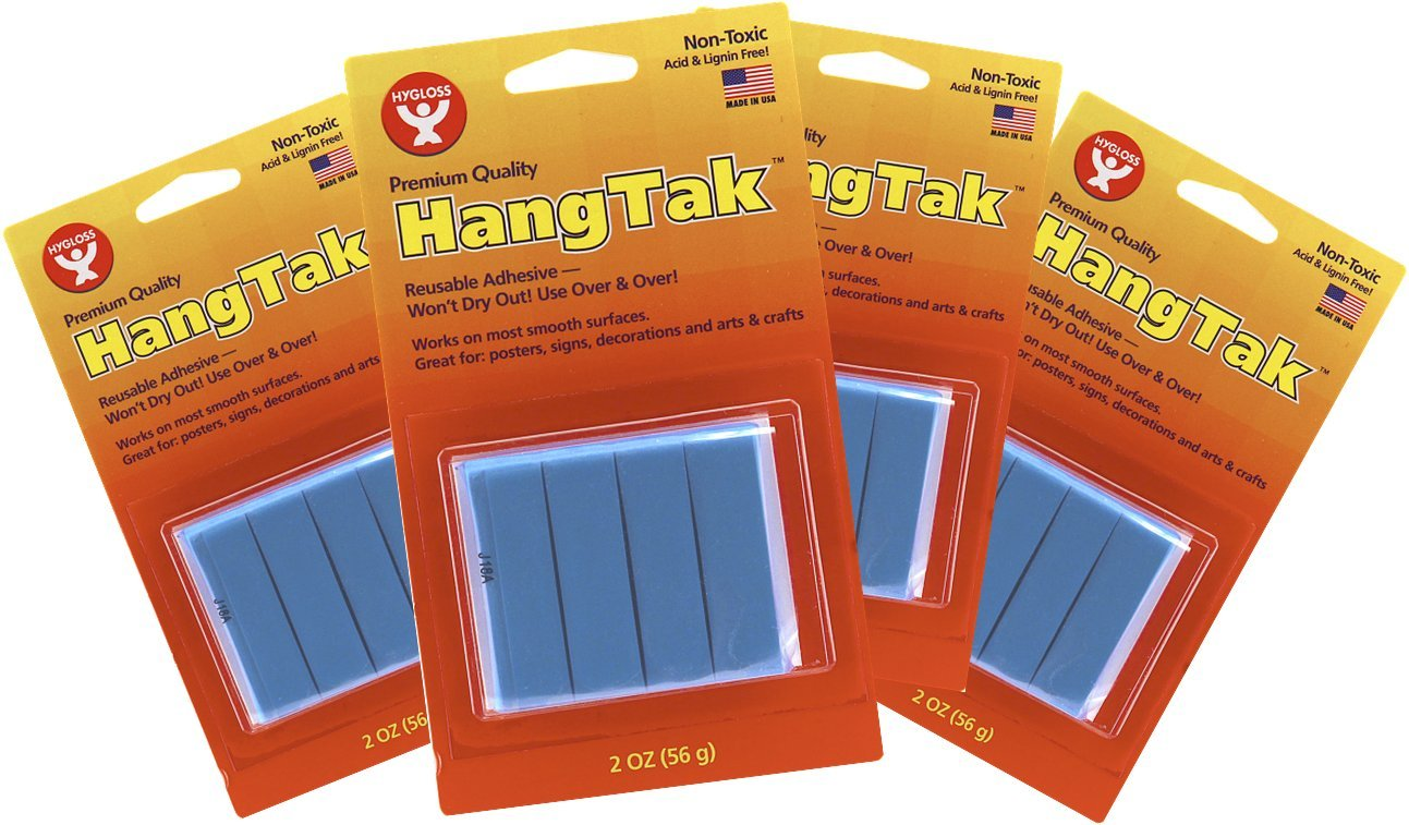 Hygloss Products HangTak Reusable Adhesive Putty Tack for Posters, Signs, Crafts - 8 Ounces - Blue, 4 Pack