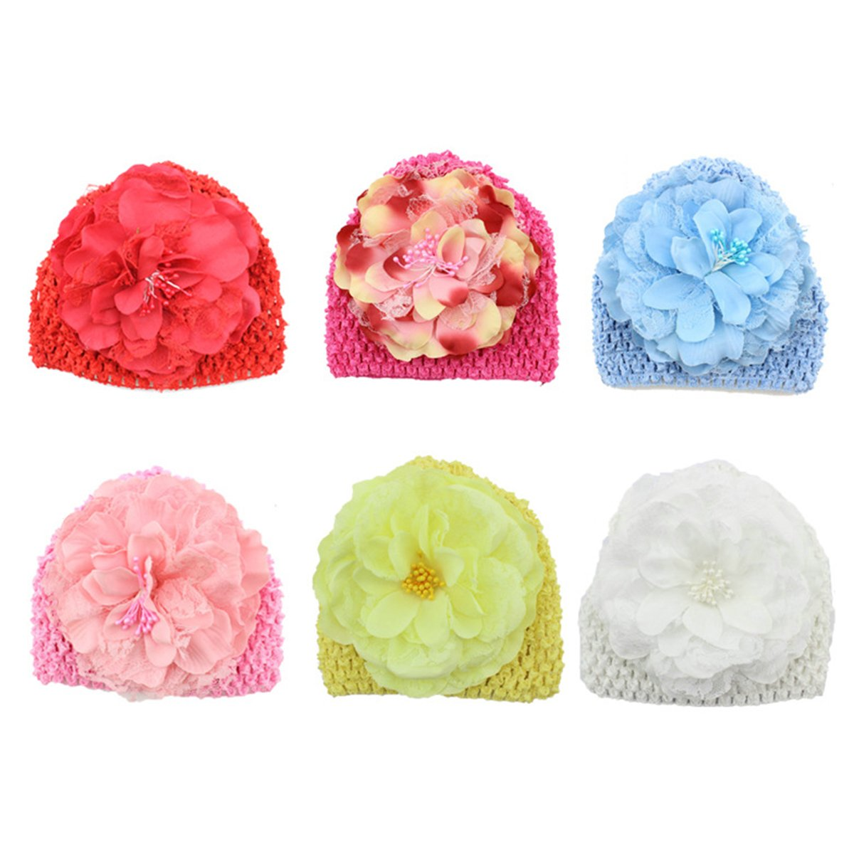 7a2af3d5fcb Amazon.com  OULII Boys Girls Knitted Hat with Peony Flower (6 Colors)   Jewelry