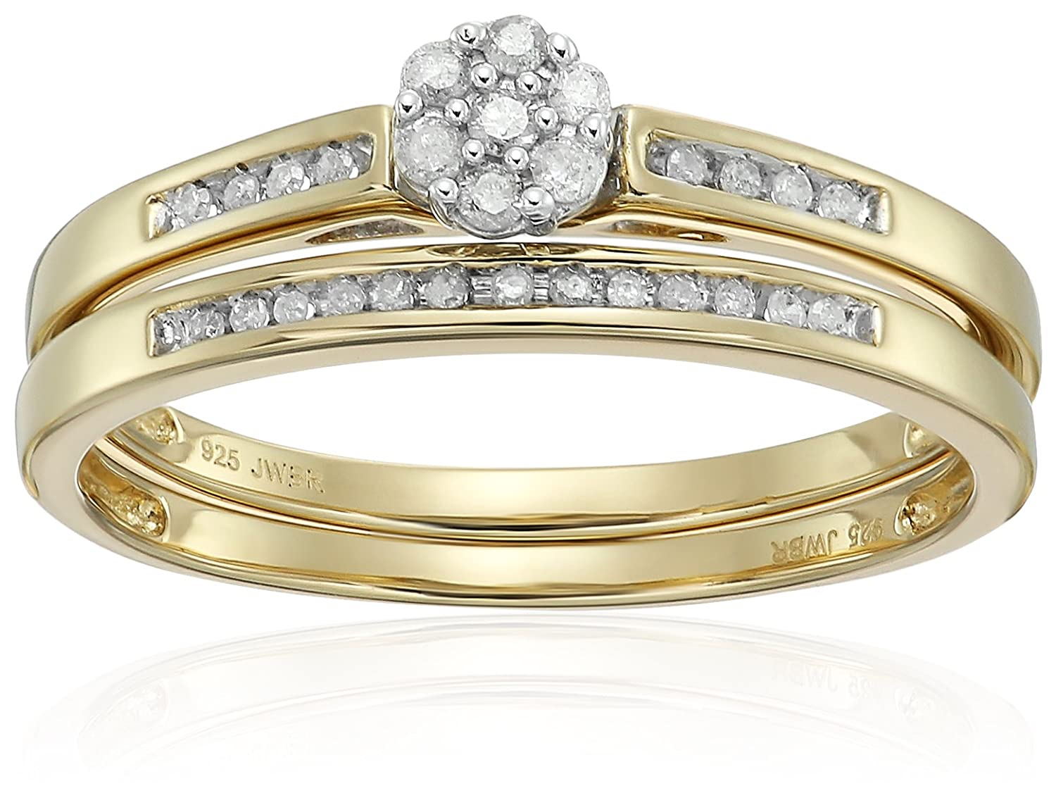 18k Yellow Gold over Silver Diamond Round Cluster Bridal Ring, Size 7 Amazon Collection 956451D/STGSIL/Y/HR/US7