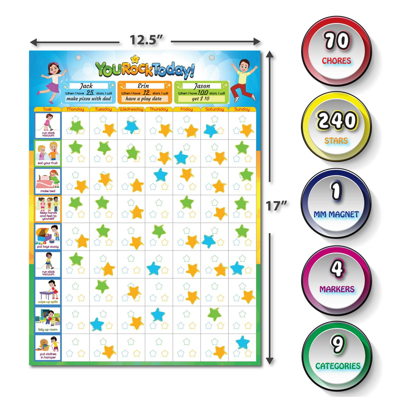 """Magnetic Chore Charts for One or Multiple Kids & Toddlers for Fridge, Magnetic Dry Erase Board, 70 Chore, Reward, Responsibility, Behavior Chart, 240 Star Magnets, 4 Markers (12.5"""" x 17"""")"""