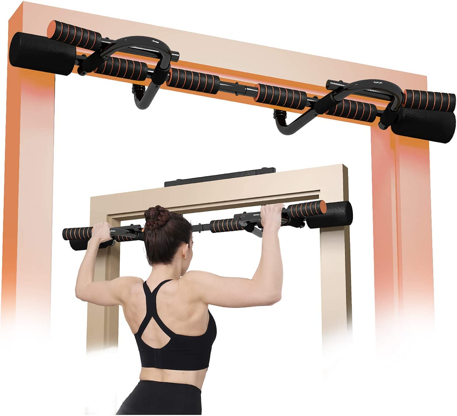 Doorway Pull Up Bar with Ergonomic Grip, Exercise Equipment Body Gym System No Screws Trainer, Multi-Grip Chin Up Bar & Exercise Bar & Home Workout