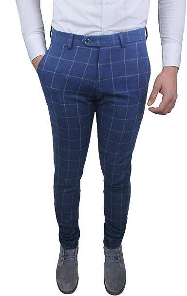 126f1d063c Pantaloni Uomo sartoriali Blu Grigio Quadri Slim Fit Invernali